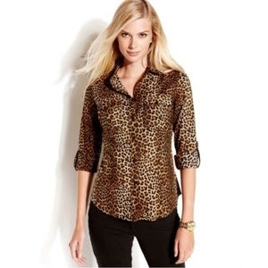 Michael Kors Leopard Print Button Up Top